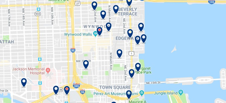 Accommodation in Miami's Design District - Click on the map to see all available accommodation in this area