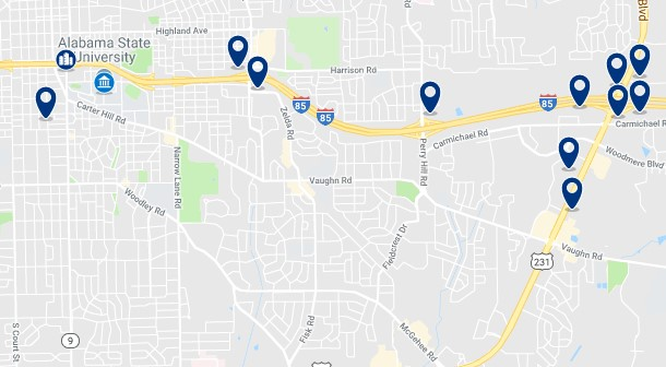 Accommodation near Alabama State University's train station - Click on the map to see all available accommodation in this area
