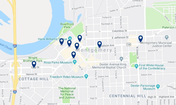Accommodation in Downtown Montgomery - Click on the map to see all available accommodation in this area