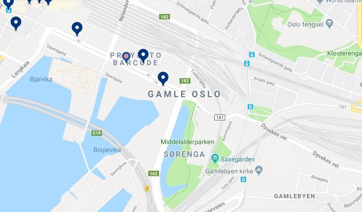 Accommodation in Gamle Oslo - Click on the map to see all available accommodation in this area