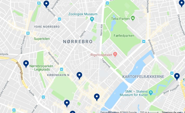 Accommodation in Nørrebro - Click on the map to see all available accommodation in this area