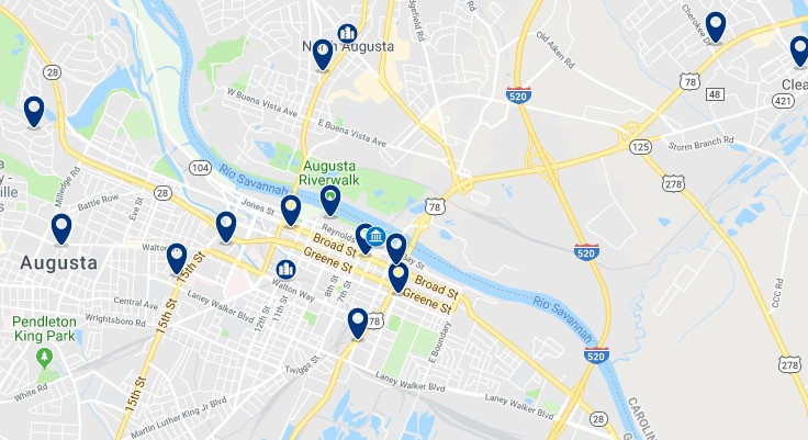 Accommodation in Downtown Augusta - Click on the map to see all available accommodation in this area