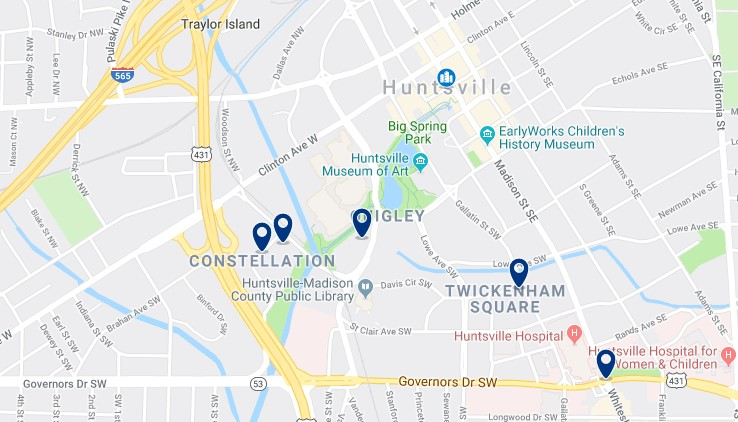 Accommodation in Downtown Huntsville - Click on the map to see all available accommodation in this area