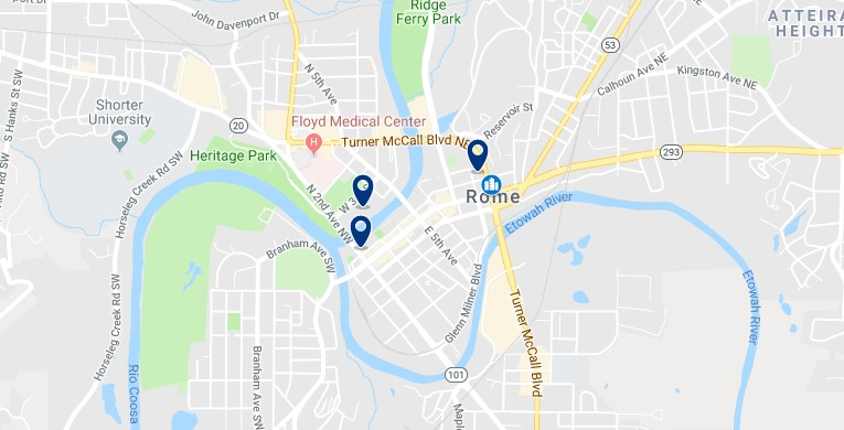 Accommodation in Downtown Rome, Georgia - Click on the map to see all available accommodation in this area