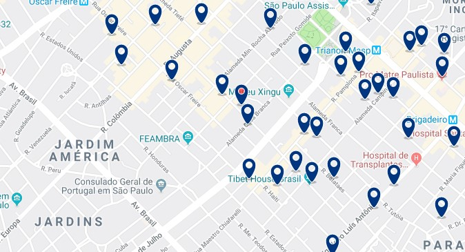 Accommodation in Jardins - Click on the map to see all available accommodation in this area