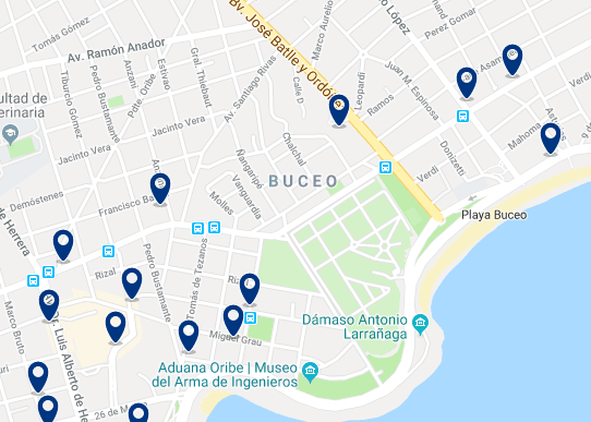 Accommodation in Buceo – Click on the map to see all available accommodation in this area