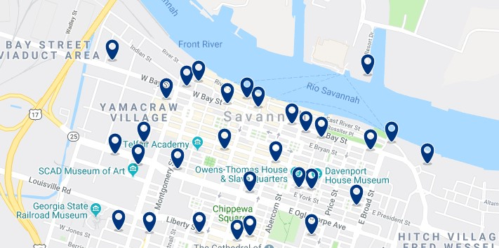Accommodation in Downtown Savannah - Click on the map to see all accommodation in this area