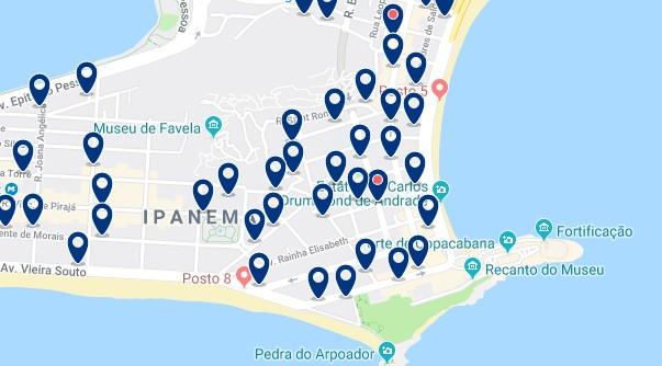 Accommodation in Ipanema - Click on the map to see all available accommodation in this area