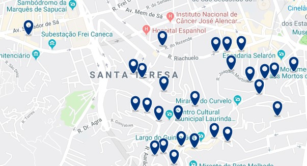 Accommodation in Santa Teresa - Click on the map to see all available accommodation in this area