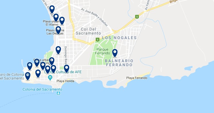Accommodation in Colonia del Sacramento City Center - Click on the map to see all available accommodation in this area