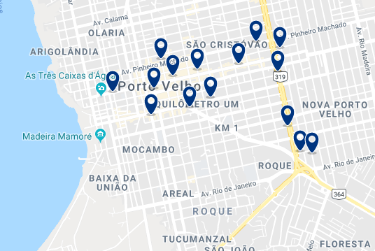 Accommodation in Porto Velho City Center – Click on the map to see all available accommodation in this area