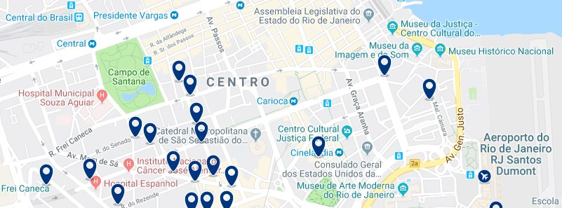 Accommodation in Downtown Rio de Janeiro - Click on the map to see all available accommodation in this area