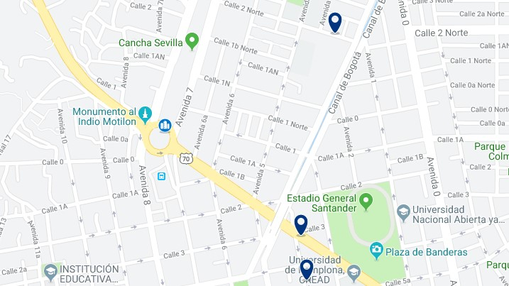 Accommodation near Cúcuta's bus terminal - Click on the map to see all available accommodation in this area