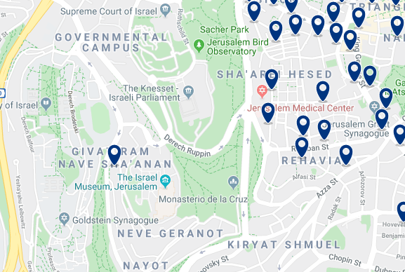Accommodation in West Jerusalem – Click on the map to see all accommodation in this area