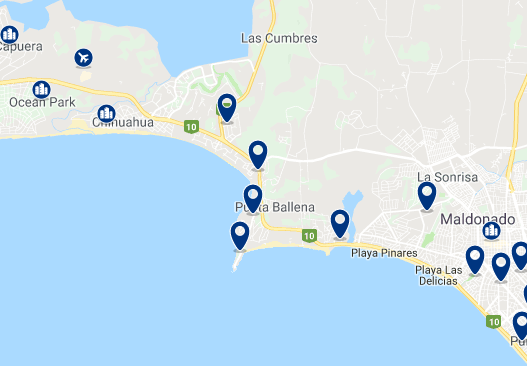 Accommodation in Punta Ballena – Click on the map to see all available accommodation in this area