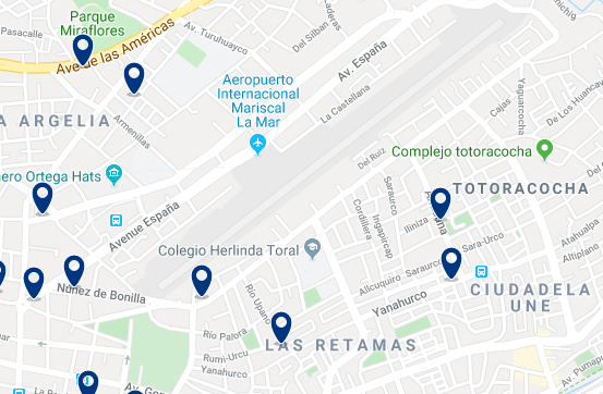 Accommodation near Mariscal Lamar International Airport - Click on the map to see all available accommodation in this area