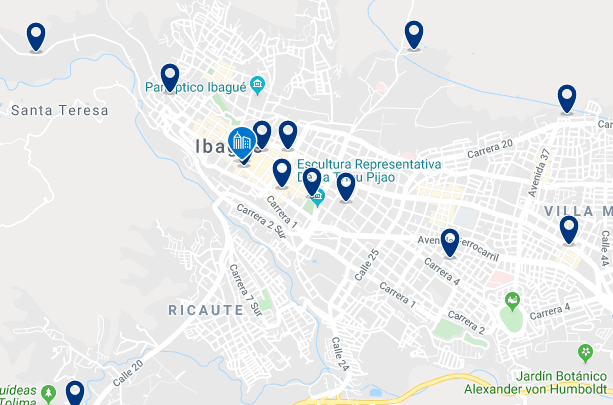 Accommodation in Ibagué City Center - Click on the map to see all available accommodation in this area