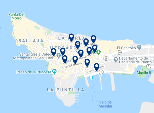 Accommodation in Old San Juan - Click on the map to see all available accommodation in this area