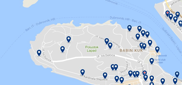 Stay in Babin Kuk - Click on the map to see all accommodation in this area
