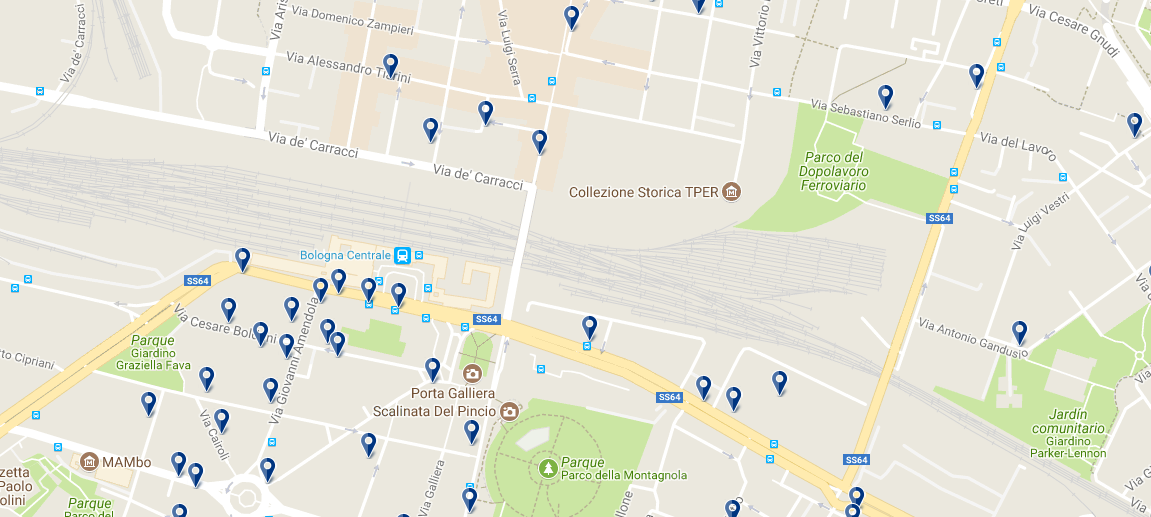 Staying around Bologna Centrale Railway Station - Click on the map to see all accommodation in this area