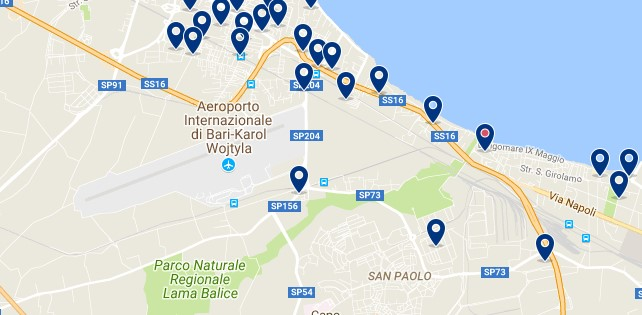 Accommodation around Bari - Palese Airport - Click on the map to see all accommodation in this area