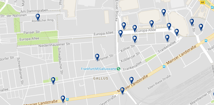 Accommodation in Frankfurt - Gallusviertel - Click on the map to see all accommodation options in this area