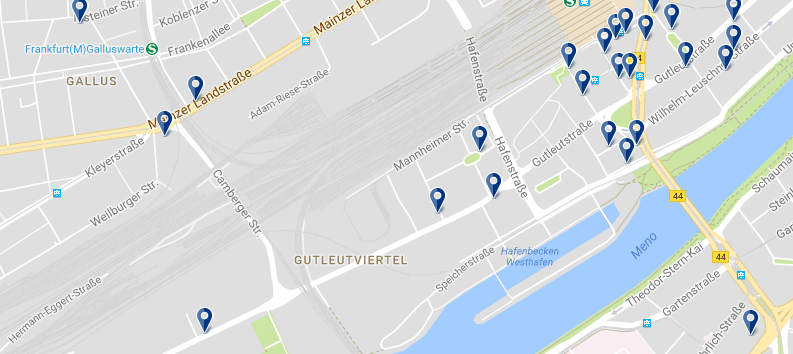 Accommodation in Frankfurt - Gutleutviertel - Click on the map to see all accommodation options in this area