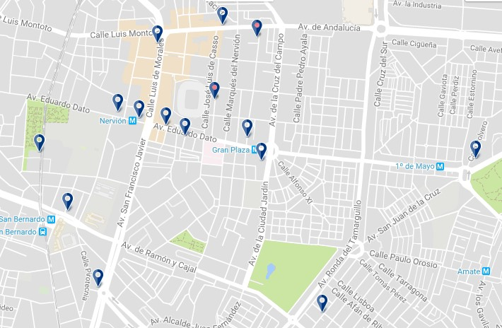 Accommodation in Seville – Nervión – Click on the map to see all available accommodation in this area