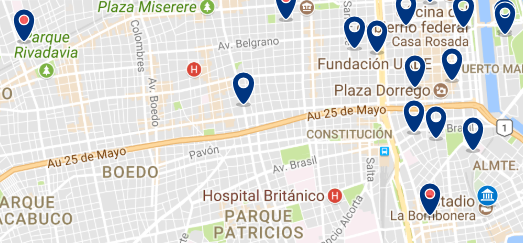 Accommodation near La Bombonera Stadium - Click on the map to see all available accommodation in this area
