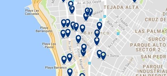 Alojamiento en Barranco - Clica sobre el mapa para ver todo el alojamiento en esta zona