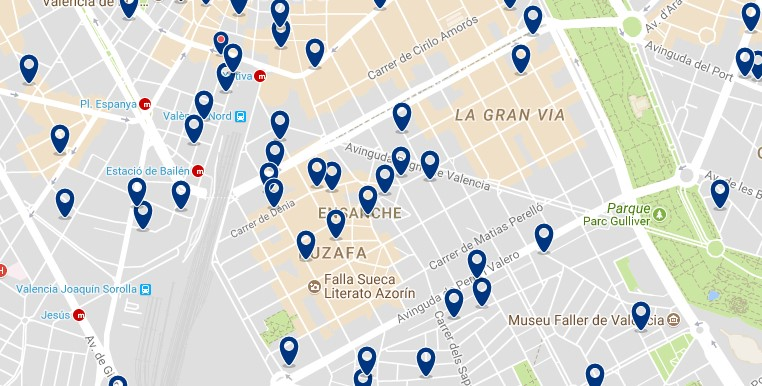 Accommodation in Eixample - Click on the map to see all available accommodation in this area