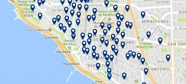 Alojamiento en Miraflores - Clica sobre el mapa para ver todo el alojamiento en esta zona