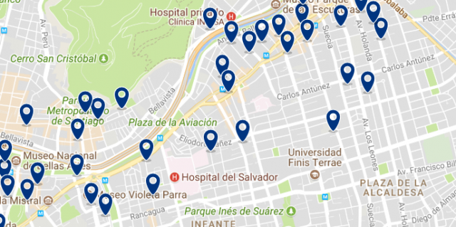 Accommodation in Providencia - Click on the map to see all available accommodation in this area