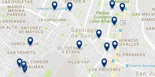 Alojamiento en Santiago de Surco - Clica sobre el mapa para ver todo el alojamiento en esta zona