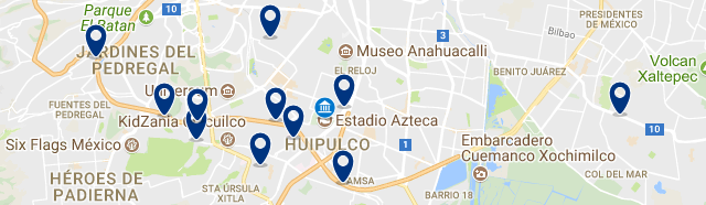 Stay near the Azteca Stadium in Mexico City - Click on the map to see all available accommodation in this area