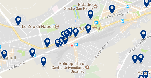 Staying in Fruorigrotta – Click on the map to see all available accommodation in this area