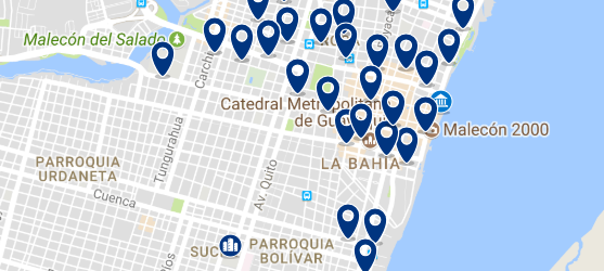 Staying near Malecón 2000 - Click on the map to see all available accommodation in this area