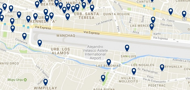Accommodation around aeropuerto de Cuzco - Click on the map to see all available accommodation in this area