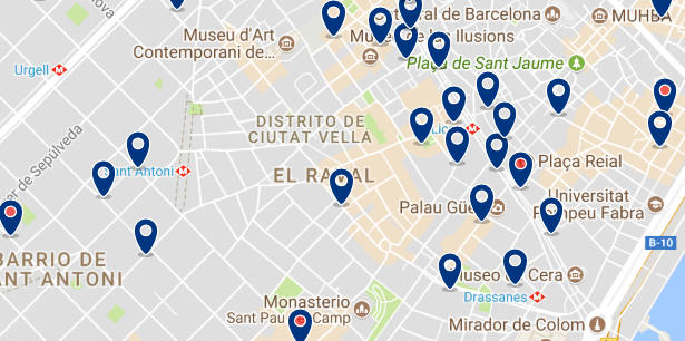 Accommodation in Raval - Click on the map to see all available accommodation in this area