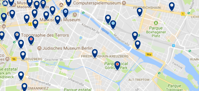 Staying in Friedrichshain-Kreuzberg - Click on the map to see all available accommodation in this area
