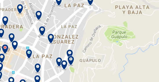 Accommodation in Guápulo - Click on the map to see all available accommodation in this area