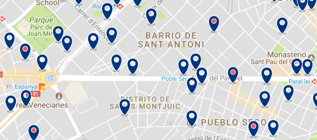 Accommodation in Sants-Montjuïc - Click on the map to see all available accommodation in this area