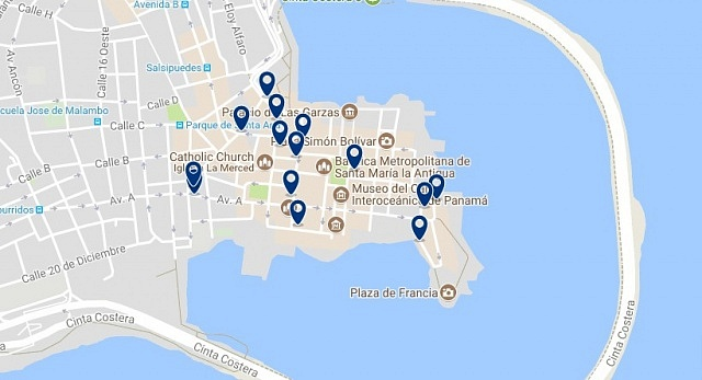 Accommodation in Panama City's Old Town - Click on the map to see all available accommodation in this area