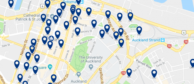 Accommodation in Auckland Central Business District - Click on the map to see all available accommodation in this area