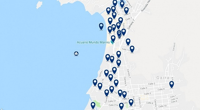 Accommodation in El Rodadero - Click on the map to see all available accommodation in this area