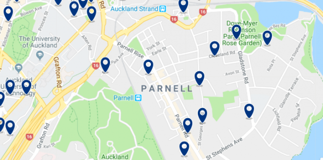 Accommodation in Parnell - Click on the map to see all available accommodation in this area