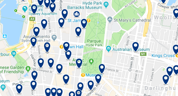 Accommodation in the Central Business District (CBD) - Click on the map to see all accommodation in this area