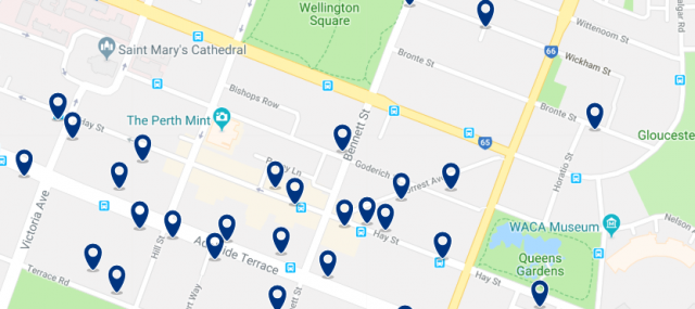 Accommodation in West Perth - Click on the map to see all available accommodation in this area