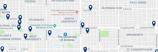 Accommodation near the University of Arizona - Click on the map to see all available accommodation in this area