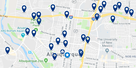 Alojamiento en Albuquerque Downtown – Click on the map to see all available accommodation in this area
